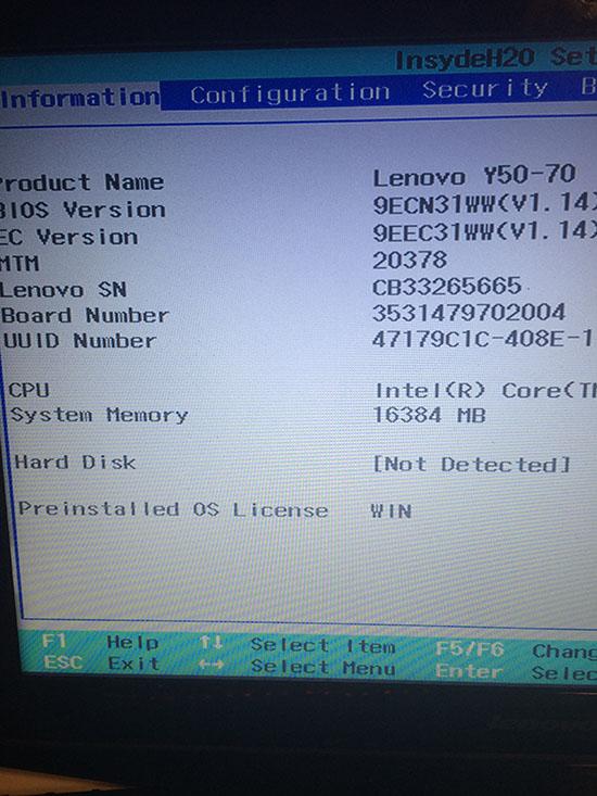 Lenovo Y50 Fail